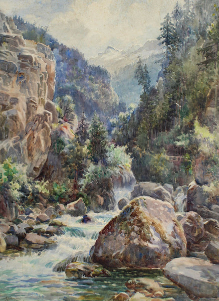 Arthur Netherwood - Mountain River, 19th Century Watercolour