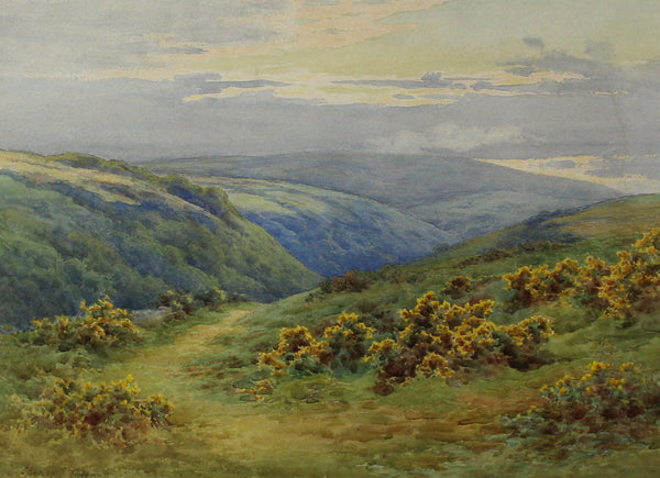Charles James Adams (1859-1931) - Moorland Valley, 19th Century Watercolour