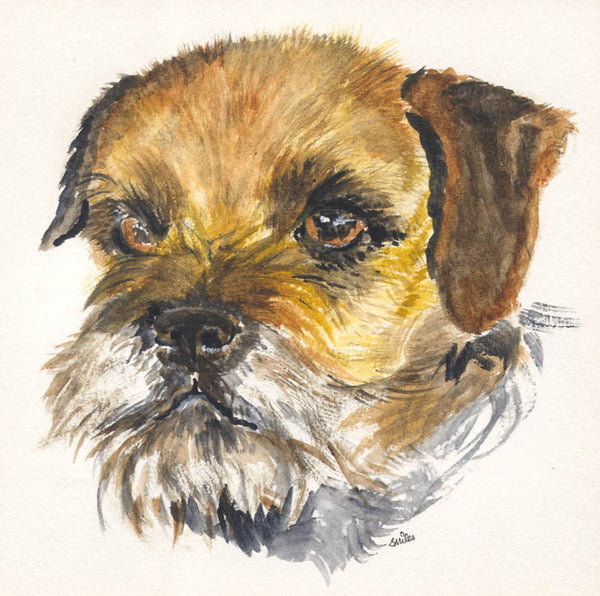 Sally Smiles - Terrier, Contemporary Watercolour
