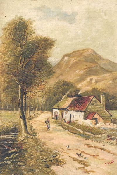 Cottages, Perthshire - 19th Century Original Oil Painting