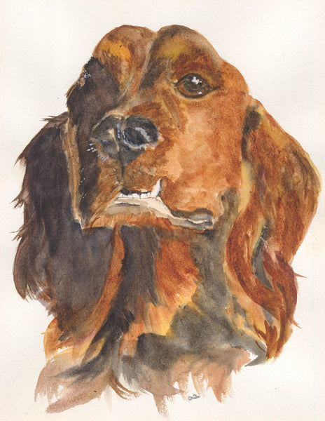 Sally Smiles - Dog, Contemporary Original Watercolour Painting