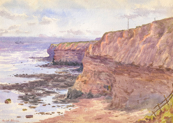 Harriet Skidmore - Red Sands Cliff, Original 1899 Watercolour Painting