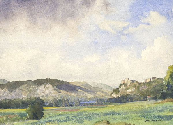 John Moore - Castle on the Hill, Contemporary Original Watercolour Painting