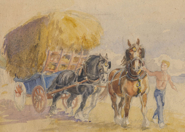 Cecil Elgee - Cart Horses, Mid 20th Century Watercolour Painting