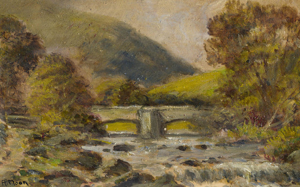 A. Moor - Fingle Bridge, Drewsteignton, Early 20th Century Original Oil Painting