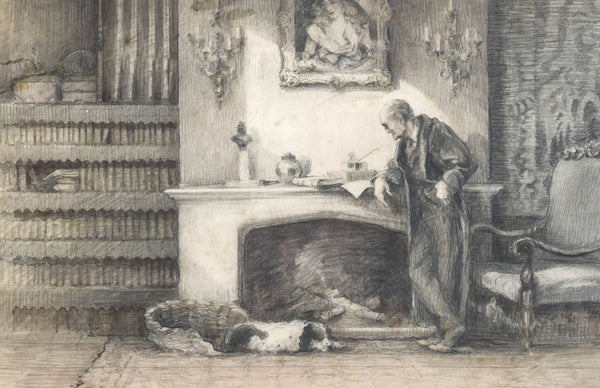 English School - Books, Original 1937 Pencil Drawing