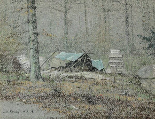 John Reaney - Camp in the Wood, Original 1978 Pastel Drawing