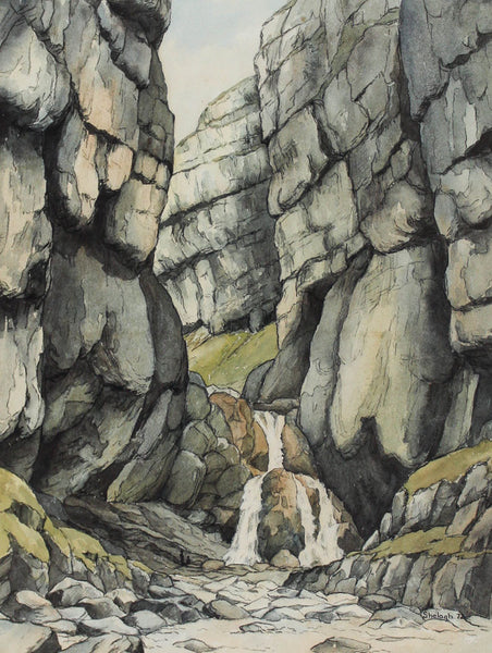 Shelagh Pate - Waterfall, Gordale Scar, Original 1972 Watercolour Painting