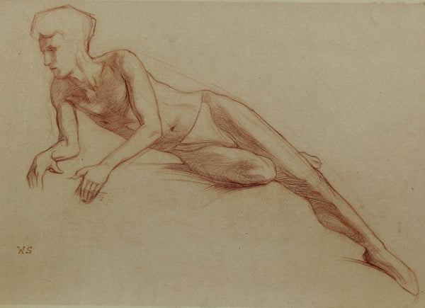 Reclining Nude - W. S., Original 20th Century Sanguine Drawing