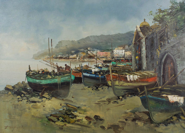 F. B. De Angelis - Beached Boats, Mid 20th Century Oil