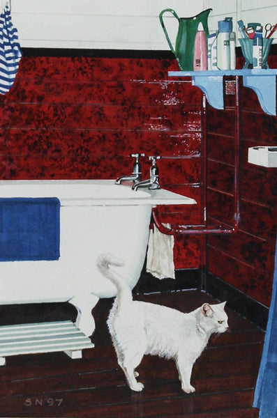 Sheila Marion Nowers - Bathroom Cat, 1997 Original Gouache Painting