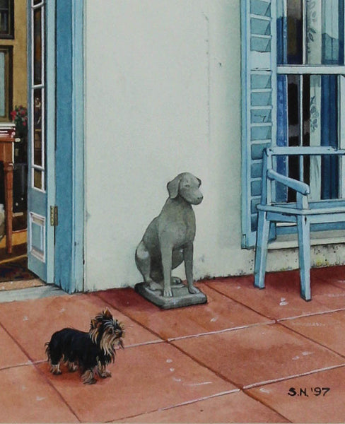 Sheila Marion Nowers - Dog and Statue, Original 1997 Gouache Painting
