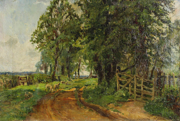 Sidney Grant Rowe (1861-1928) - Sheep on a Country Lane, 19th Century Oil