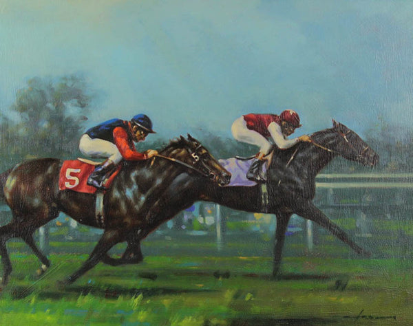 Graham Isom - Park Appeal-Country Queen Stakes, Original Oil Painting