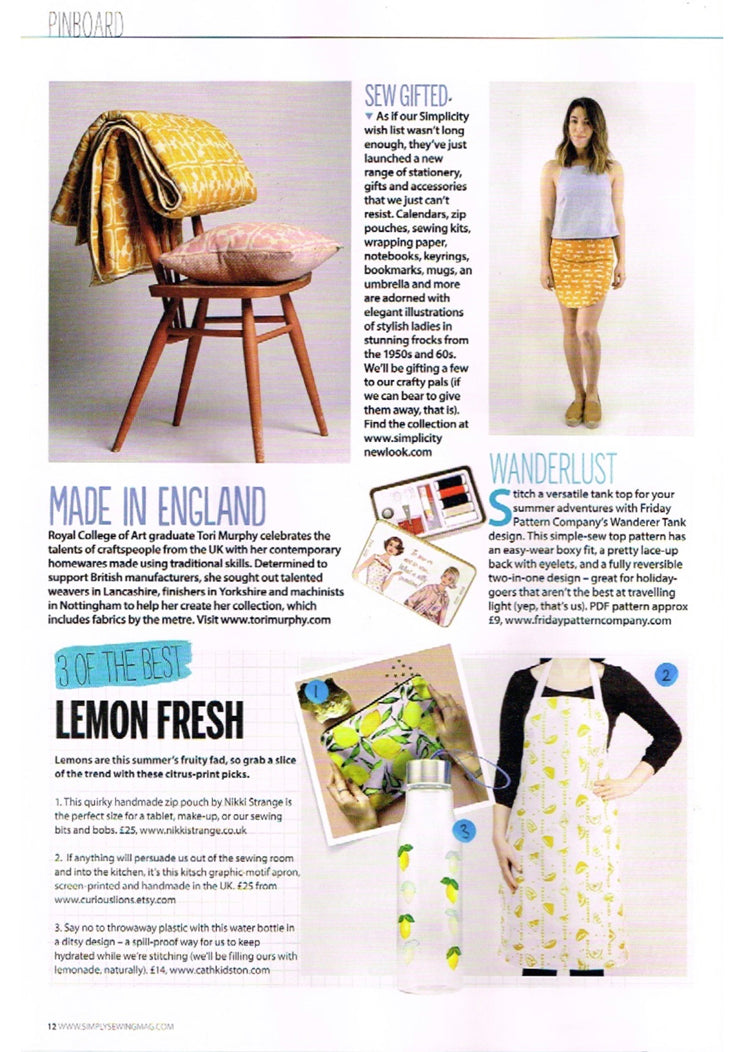 simply sewing magazine article