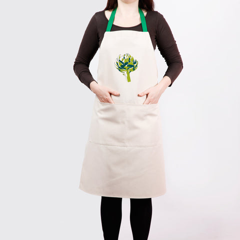 Apron with artichoke screen print, designed by Curious Lions and made in the UK. This unisex natural cotton item makes a rustic gift.