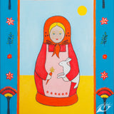 Giclee art print of a summer matryoshka doll painted by UK artist Tess Linder: a perfect gift for a child's room. Portrait size 25 x 34cm.