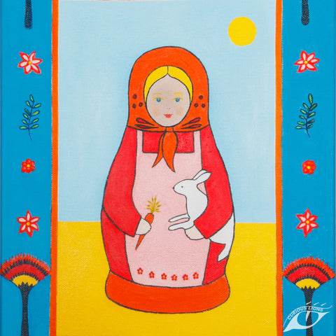 I Love my Bunny 34cm x 25cm x 3.5cm giclee print on stretched canvas.