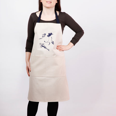 Apron with lucky koi screen print, designed by Curious Lions and made in the UK. This unisex natural cotton item makes a rustic gift.