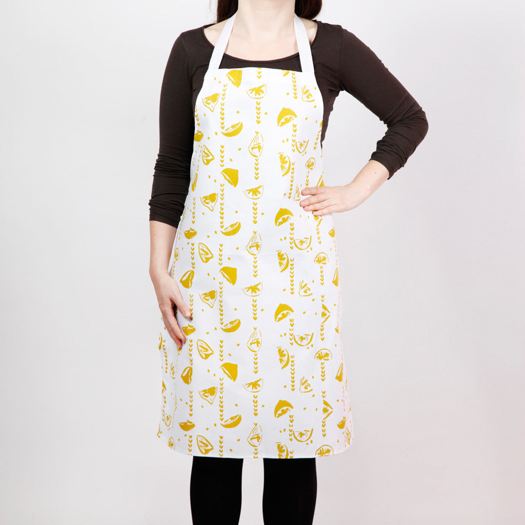 Apron with lemons screen print: this cotton drill item makes a citrus gift for cooks.