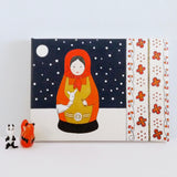 Giclee art print of a winter matryoshka doll painted by UK artist Tess Linder: a perfect gift for a child's room. Portrait size 25 x 34cm.