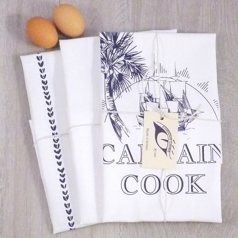 Screen printed tea towel set (Captain Cook and Wheat Stripe).