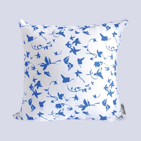 Cushion with removable cover in linen with screen printed ivy design, washable 46 x 46cm. Created and made by Curious Lions in the UK. Keeps it's shape.