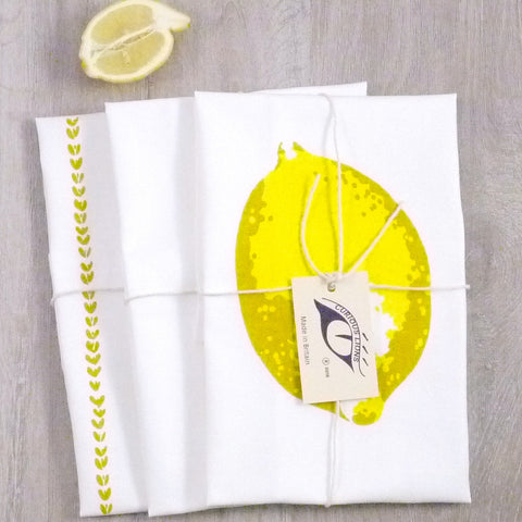 Tea towel set with lemons screen print on panama cotton, designed by Curious Lions and made in the UK. These keep their shape and colour.