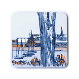 Coaster set of 4, made from cork and a hard wipeable laminate depicting the french port of St Malo. Designed by Curious Lions and made in the UK.