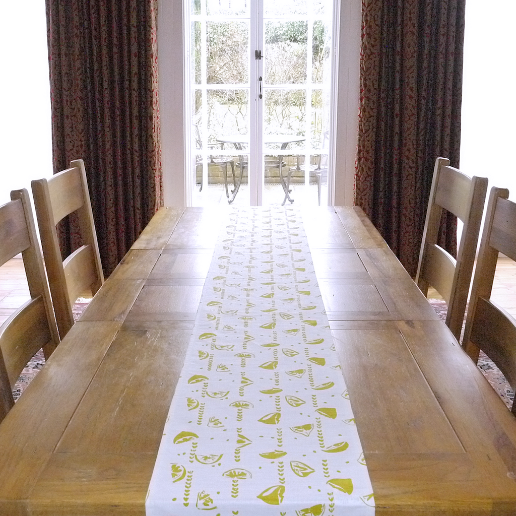 Chartreuse Lemons table runner