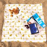 Table topper in linen with screen printed lemons design, washable 70 x 70cm hemmed. Created and made by Curious Lions in the UK.