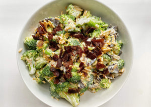 Beef Biltong Keto Salad with Broccoli in white bowl.