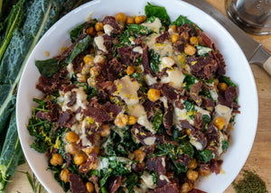 Roasted Chickpea and Kale Salad with Ayoba Rosemary Truffle Biltong