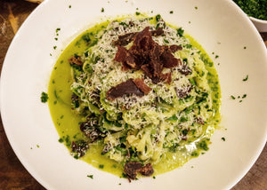 Zoodle Carbonara with Rosemary Truffle Biltong