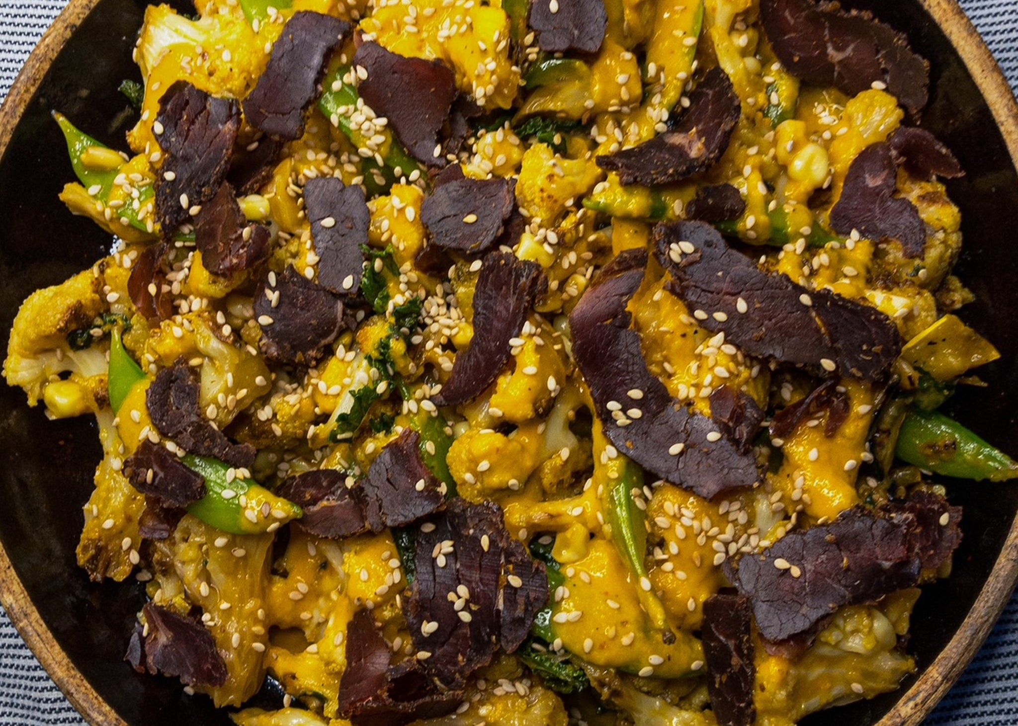 Ginger Miso Cauliflower with Spicy Biltong