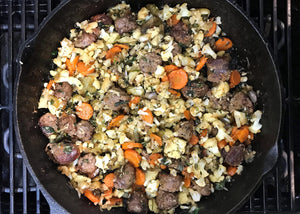 Cauliflower Stuffing with Boerewors in Skillet