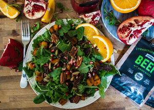 Biltong, Pomegranate & Roast Squash Salad Recipe by Ayoba-Yo