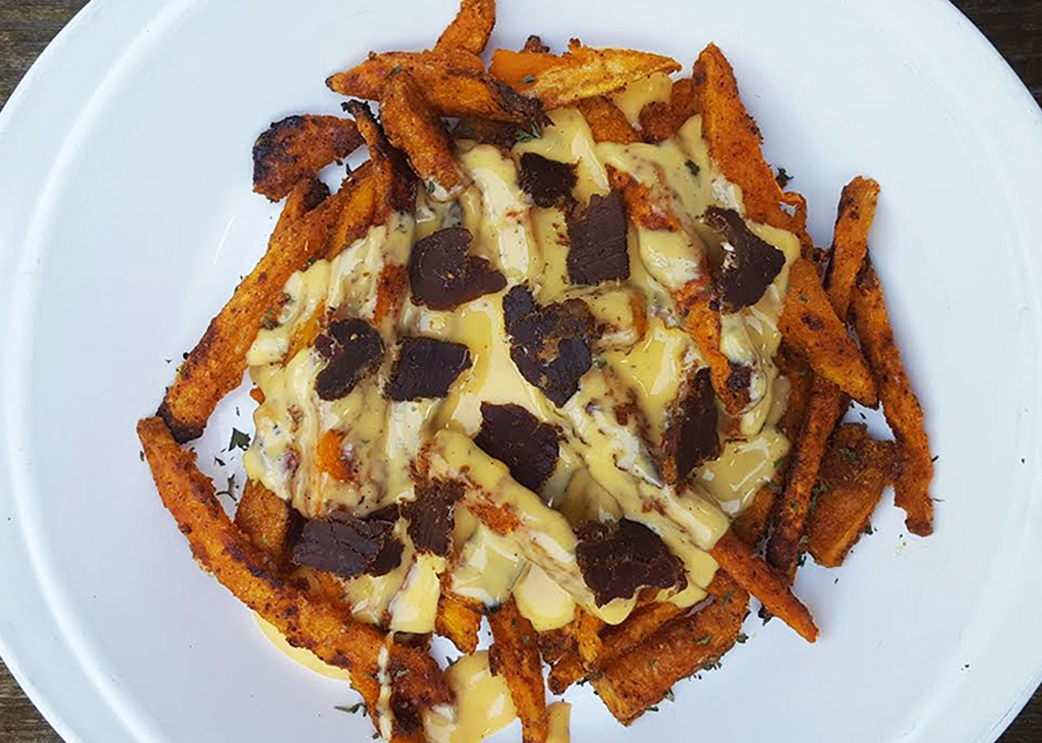 Biltong & Cheese Drenched Sweet Potato Fries