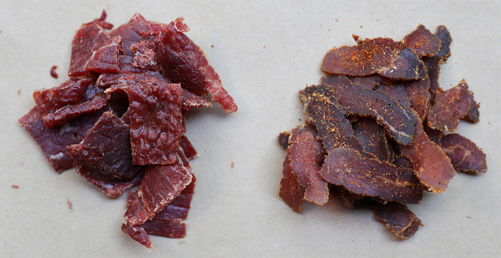 Difference in texture between biltong and beef jerky