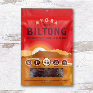 Ayoba Biltong Spicy Grass Fed Beef Snacks Keto Paleo Whole30 Snack, 4 oz on Wood