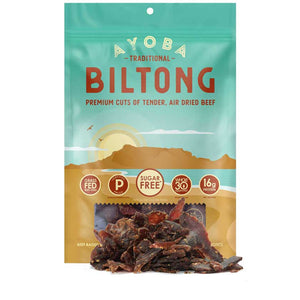 Ayoba Traditional Biltong Grass Fed Beef Snack with Product in front of 2 oz bag.
