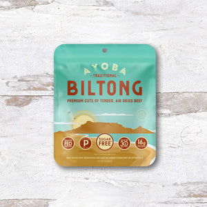 Ayoba Traditional Biltong 1 oz convenient bag of beef snacks.