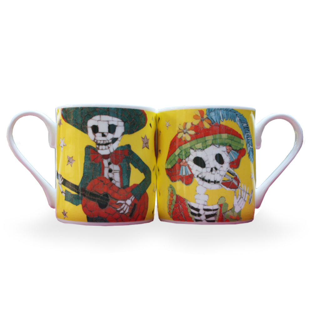 2 Day of the Dead Yelllow Coffee Mugs