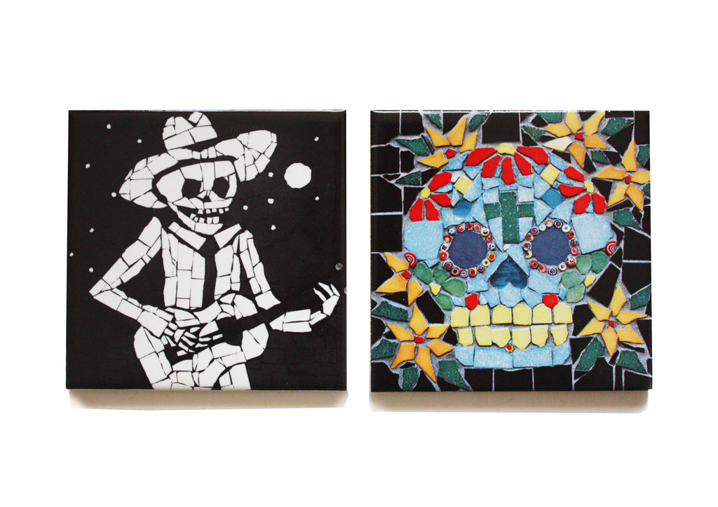 Coasters Set - Guitarist and Skull