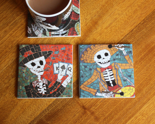 Coaster Set - Poker Player and Drummer
