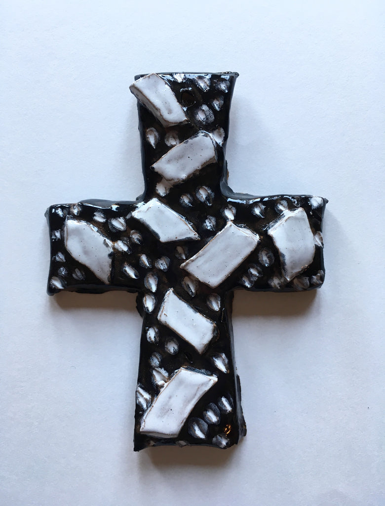 Monochrome modern ceramic cross