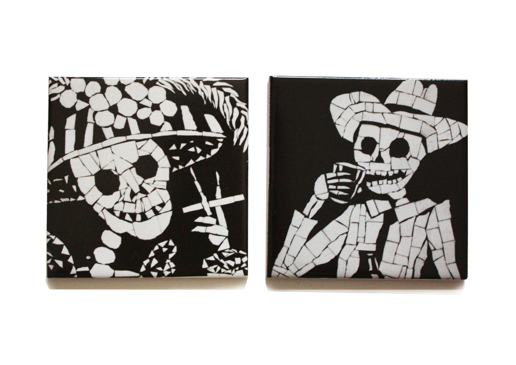 His and Her Coaster Set - Black and White