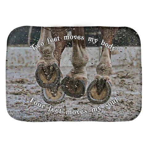 "Horse Lover? Bath mat with ""Two feet moves my body, four feet moves my soul"" saying printed on a horse riding image-Unique, not found in stores."