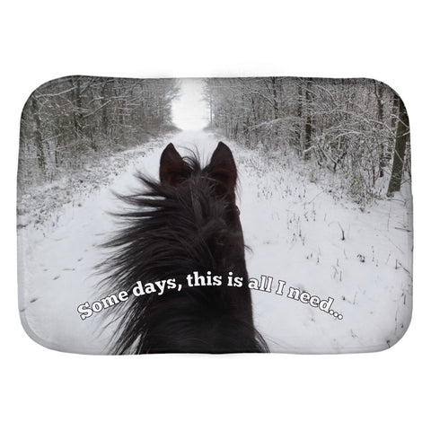 "Horse Lover? Bath mat with ""Some days, this is all I need"" saying printed on a horse riding image-Unique, not found in stores."