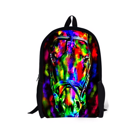 Multi collored 3D Horse Printing Children Backpack
